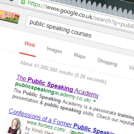 Google SEO Page 1 - Public Speaking Academy